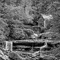 Glade Creek Grist Mill 3 Bw by Steve Harrington