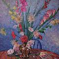 Gladiolas And Dahlias by Donald Maier