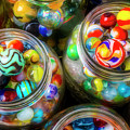 Glass Marbles In Containers by Garry Gay