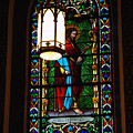 Glass Window Of Saint Philip In The Basilica In Santa Fe  by Susanne Van Hulst