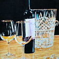 Glass Wood And Light And Wine by Mary Lou Hall