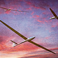 Gliders Over The Devil's Dyke At Sunset by Chris Lord