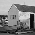 Gloucester Boathouse In Black And White by Suzanne Gaff