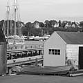 Gloucester Harbor Scene In Black And White by Suzanne Gaff