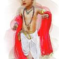 God Krishna Style Watercolor by Lakshmikanth Kummari