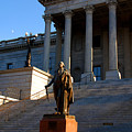 Goerge Washington In Front Of The Capitol Building In Columbia Sc by Susanne Van Hulst