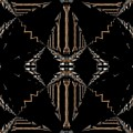 Gold And Black With Silver Design Abstract by Sheila Mcdonald
