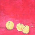 Gold Apples On Red by Michela Akers