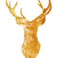 Gold Deer Silhouette Watercolor Art Print by Joanna Szmerdt