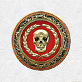Gold Human Skull Over White Leather  by Serge Averbukh