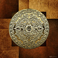 Gold Mayan-aztec Calendar On Brown Leather by Serge Averbukh