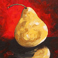 Gold Pear On Red  by Torrie Smiley
