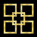 Gold Squares On Black by Chuck Staley