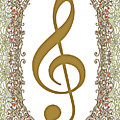Gold Treble Clef With Gold Border by Lise Winne