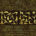 Gold Yoga Asanas / Poses Sanskrit Word Art  by Creativemotions