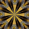 Golden And Silvery Metallic Filaments Mandala Abstract 1 by Rose Santuci-Sofranko