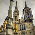 Golden Angel Statues In Front Of The Cathedral by Bratislav Stefanovic