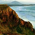 Golden Beach Cliff Side  Painterly by Peter Piatt