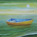 Golden Boat In The Green Lagoon by Alicia Maury