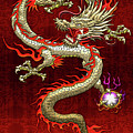 Golden Chinese Dragon Fucanglong On Red Silk by Serge Averbukh