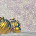 Golden Christmas Balls - 3d Render by Elenarts - Elena Duvernay Digital Art