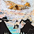 Golden Eagle Flies Above Clouds And Mountains by Carol  Law Conklin