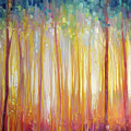 Golden Forest Hidden Unicorn - Large Original Oil Painting By Gill Bustamante by Gill Bustamante