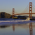 Golden Gate And Waves by Garry Gay