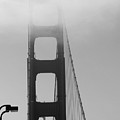 Golden Gate Bridge And Fog In Black And White by Joy Patzner
