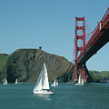 Golden Gate Bridge And Sailboats by William Bitman