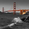 Golden Gate Bridge Sunset Study 1 Bw by Scott Campbell