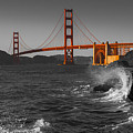 Golden Gate Bridge Sunset Study 2 Bw by Scott Campbell