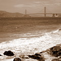 Golden Gate Bridge With Shore - Sepia by Carol Groenen