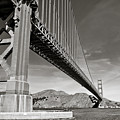 Golden Gate From The Water - Bw by Darcy Michaelchuk