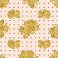 Golden Gold Blush Pink Floral Rose Cluster W Dot Bedding Home Decor by Audrey Jeanne Roberts