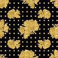 Golden Gold Floral Rose Cluster W Dot Bedding Home Decor Art by Audrey Jeanne Roberts