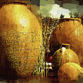 Golden Large Fountain Urns by Kirt Tisdale
