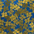 Golden Leaves And Bluish Background by Alberto RuiZ
