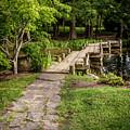 Golden Light On Footbridge Japanese Garden Maymont by Karen Jorstad