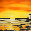Golden Lighthouse Sunset Dreamy Mirage by Claude Beaulac