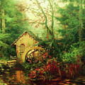Golden Pond Below The Mill In The Mist by Isabella Howard