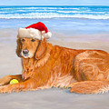 Golden Retreiver Holiday Card by Karen Zuk Rosenblatt