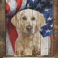 Golden Retriever Flag Poster by Tim Wemple
