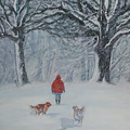 Golden Retriever Winter Walk by Lee Ann Shepard