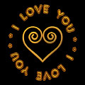 Golden Scrolled Heart And I Love You by Rose Santuci-Sofranko