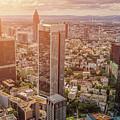 Golden Skyscrapers Of Frankfurt by JR Photography