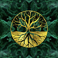 Golden Tree Of Life Yggdrasil On Malachite by Creativemotions