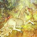 Golden Unicorn Dreams by Digital Art Cafe