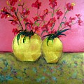 Golden Vases - Red Blooms by Michela Akers