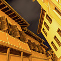 Golden Yellow Night - Chic Zigzags Of Oriel Windows And Serrated Roof Lines by Georgia Mizuleva